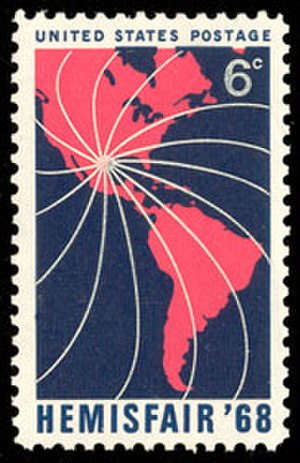 HemisFair '68 - U.S. postage stamp commemorating HemisFair '68