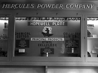 Hercules Inc. - Display showing Hercules products in the 1950s