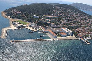 Naval High School (Turkey) - Aerial view of the school from above the Sea of Marmara