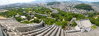 Himeji Castle - A panoramic view of the castle grounds, with Himeji city in the background