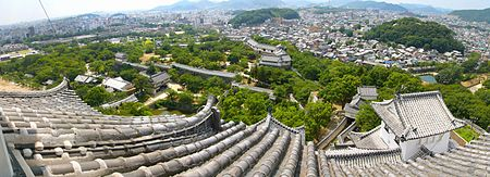 Panoramic photo of the castle grounds, with Himeji city in the background