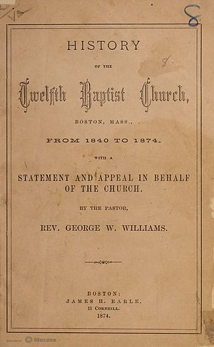 Twelfth Baptist Church, Boston - Title page of History of the Twelfth Baptist Church by George Washington Williams, 1874