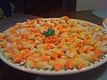 Homemade candy corns with pumpkin guard.jpg