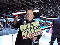 Homme déguisé en François Hollande - Mondial de l'Automobile de Paris 2014.jpg