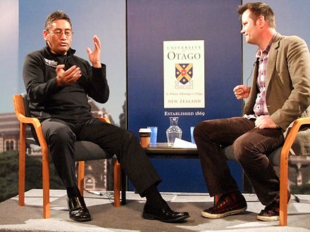 Harawira speaking with University of Otago academic Bryce Edwards at a pre-election event in 2011. Hone Harawira and Bryce Edwards.jpg