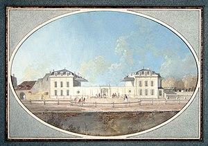 Pensionnat des Frères des écoles chrétiennes à Passy - The former Hôtel de Valentinois, as painted in the 1770s by Alexis-Nicolas Pérignon bordering present-day Rue Raynouard.