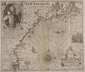 "Plum Island (Massachusetts) - Captain John Smith's 1616 map, in which he names New England. ""Cape Anna"" (Cape Ann) is labeled. A larger-than-life, unlabeled island is shown to the north of it."