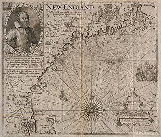 """Plum Island (Massachusetts) - Captain John Smith's 1616 map, in which he names New England. """"Cape Anna"""" (Cape Ann) is labeled. A larger-than-life, unlabeled island is shown to the north of it."""