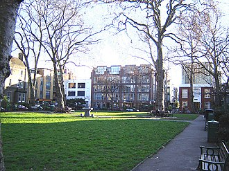 Hoxton - Hoxton Square in January 2006. The White Cube gallery is in the background to the right: the gallery closed in 2012.