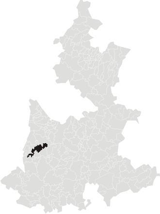 Huaquechula - Location of municipality