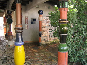 Kawakawa, New Zealand - Entrance to the Hundertwasser toilet building