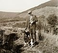 Hunting, hunter, dog, hat, hillside Fortepan 92394.jpg