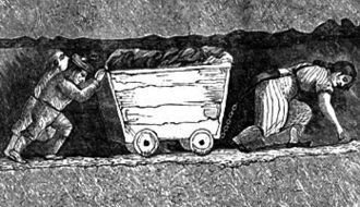 Hurrying - A hurrier and two thrusters heaving a corf full of coal as depicted in the 1853 book The White Slaves of England by J. Cobden