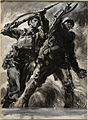 INF3-338A Unity of Strength A British soldier and a Russian soldier with rifles raised Artist Rowland Hilder.jpg