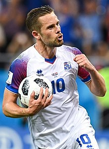 1175c0e0e68 ISL-HRV (21) (cropped).jpg. Gylfi with Iceland at the 2018 FIFA World Cup