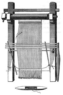 Warp-weighted loom ancient form of loom In which the warp threads hang vertically and are held taut with weights