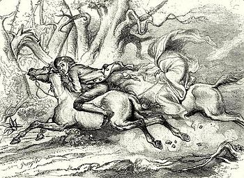 Ichabod pursued by the Headless Horseman
