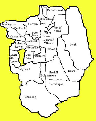 Twomileborris (civil parish) - Townlands of Twomileborris civil parish. Notice the enclave of Rathcunikeen (which belongs to Ballymoreen) in the west of the parish between Lahardan Upper and Coolcroo