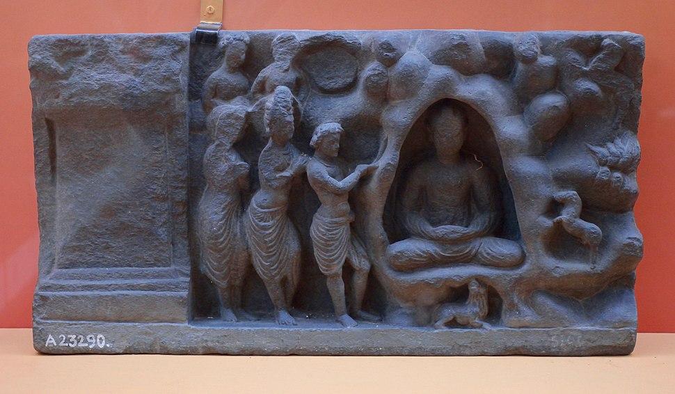 Indras Visit to Indrasala Cave - Schist - ca 2nd Century CE - Kushana Period - Loriyan Tangai - ACCN 5100-A23290 - Indian Museum - Kolkata 2016-03-06 1519