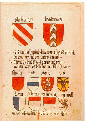 Flags and arms of cantons of Switzerland - Image: Ingeram Codex 082