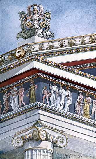 Ionic order - Original polychromy in Ionic temples.