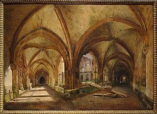 Vue du cloître de Saint-Wandrille