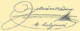 Archduke Stephen, Palatine of Hungary - Image: István nádor signature