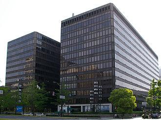 Itochu - Former Osaka headquarters of Itochu (left building) in Chuo-ku, Osaka, Japan