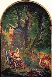 Eugène Delacroix: Jacob Wrestling with the Angel