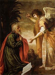 Giovanni riceve la Rivelazione nell'isola di Patmos in una raffigurazione di Jacopo Vignali