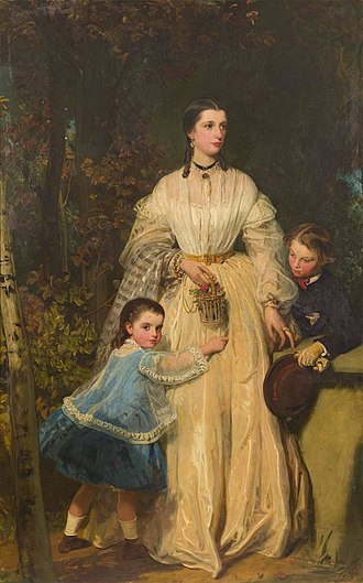 Richard Fothergill (politician) - James Sant, Mary Fothergill and her children Richard and Mary. Oil on canvas, exhibited at the Royal Academy 1864. Fothergill's second wife.