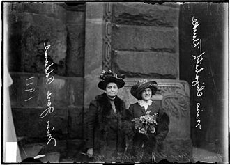 Jane Addams - Delegation to the Women's Suffrage Legislature Jane Addams (left) and Miss Elizabeth Burke of the University of Chicago, 1911