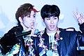 Jang Dong-woo and Hoya at fansign in Hapjeong.jpg