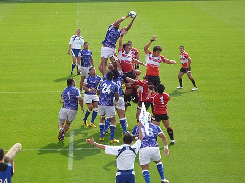 Pacific Nations Cup Match at Chichibunomiya Stadium on 17 June 2012, in which Samoa defeated Japan 27-26 Japan vs Samoa Rugby Matc 17 June 2012.jpg