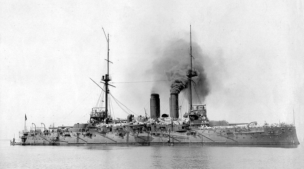 Japanese battleship in the sea, 1930s 29