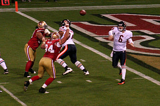 Jay Cutler - Cutler passes in a game against the San Francisco 49ers