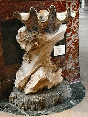Tridacna - One of the two clam stoups of the Église Saint-Sulpice in Paris, carved by Jean-Baptiste Pigalle.