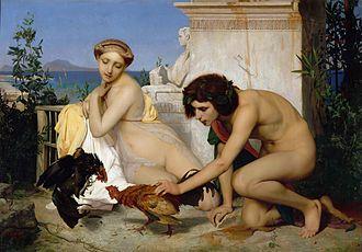Clothed female, naked male - Jeunes Grecs faisant battre des coqs by Jean-Léon Gérôme (1846).