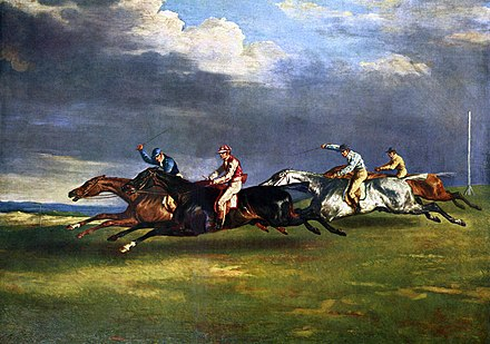 Epsom is famous for the Epsom Downs Racecourse which hosts the Epsom Derby; painting by Theodore Gericault, 1821. Jean Louis Theodore Gericault 001.jpg