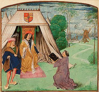 Jean Molinet - Jean Molinet presents his book to Philip of Cleves