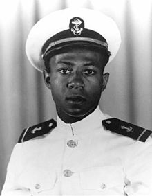 A young African-American man in a military uniform