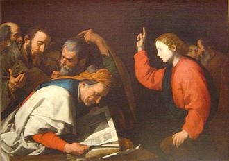 Finding in the Temple - Jesus and the doctors of the Faith, a painting by a follower of Giuseppe Ribera.