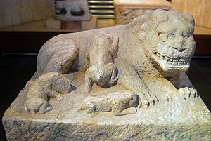 Khanbaliq - A sculpture of a lion with three cubs from Khanbaliq, discovered beneath the Ming-era city wall and now on display at the Beijing Stone Carving Museum