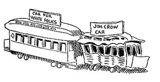 "Plessy v. Ferguson - 1904 caricature of ""White"" and ""Jim Crow"" rail cars by John T. McCutcheon. Despite Jim Crow's legal pretense that the races be ""separate but equal"" under the law, non-whites were given inferior facilities and treatment."