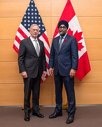 Harjit Sajjan - U.S. Secretary of Defense Jim Mattis with Sajjan in 2017