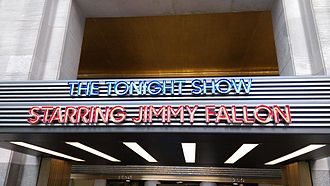 The Tonight Show Starring Jimmy Fallon - The Tonight Show marquee, located at the West entrance of 30 Rockefeller Plaza at 1250 6th Avenue