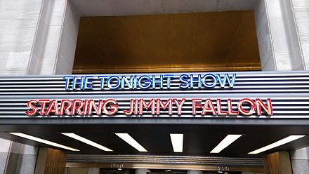 The Tonight Show marquee, located at the West entrance of 30 Rockefeller Plaza at 1250 6th Avenue JimmyFallon.jpg