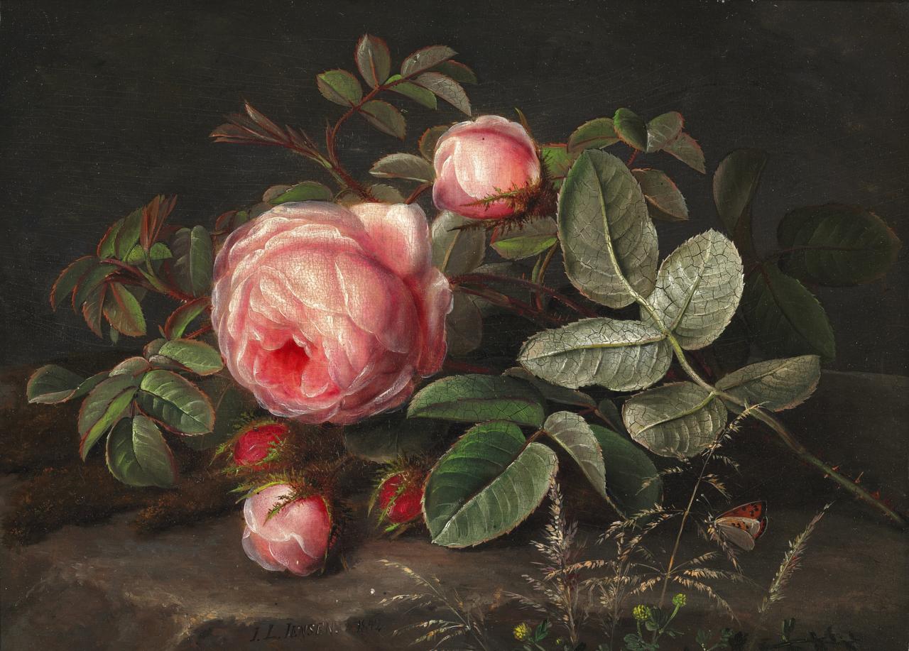 Johan Laurentz Jensen - En buket lyserøde roser - 1842.png
