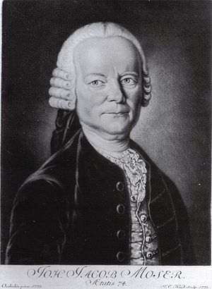 Johann Jakob Moser - Johann Jacob Moser, after a painting by Johann Georg Oechslin (1775).