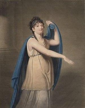 Johanna Wattier - Johanna Cornelia Ziesenis-Wattier in the role of Epicharis for the Amsterdam Stadsschouwburg, by Charles Howard Hodges, 1805